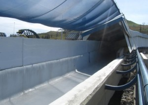 The inside of the bobsled track