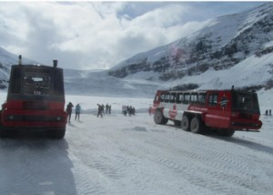 The glacier base in infront of these two vehicles
